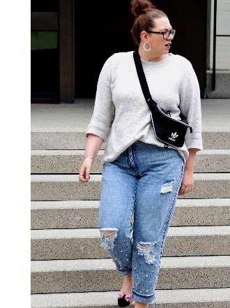 Used Jeans mit Perlen