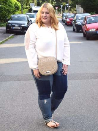 White Blouse and Patchwork Denim