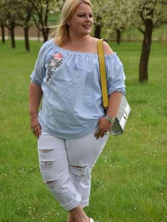 Weiße Hose für große Größen