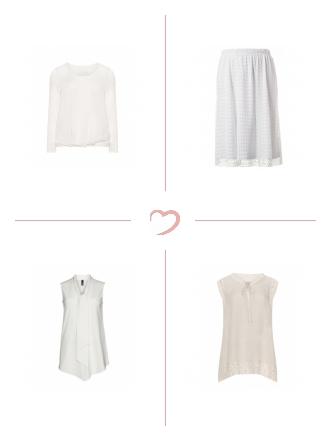 White-Allover-Looks mit Materialmix