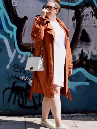 Trenchcoat in Veloursoptik