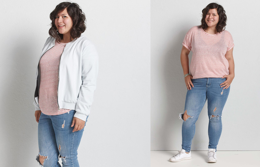 Streifen Outfits für Plus Size Ladies - Fashion-Tipps!