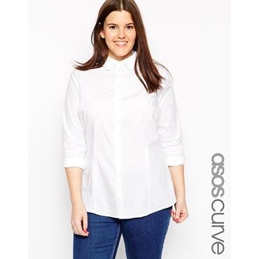 ASOS CURVE - Hemd mit Kragen mit Muschelsaum - Weiß