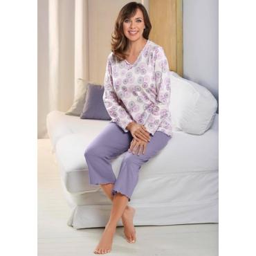 Baumwoll-Pyjama mit modischem Dessin weiß Gr. 44/46 von Atelier Goldner Schnitt