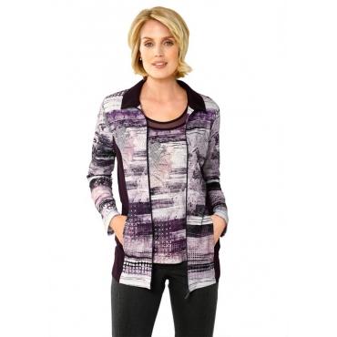 Begehrenswerte Shirtjacke mit Zierplättchen lila Gr. 52 von Atelier Goldner Schnitt