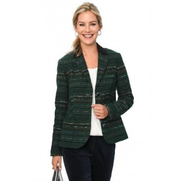 Edler Bouclé-Blazer mit Lederdetails grün Gr. 54 von Atelier Goldner Schnitt