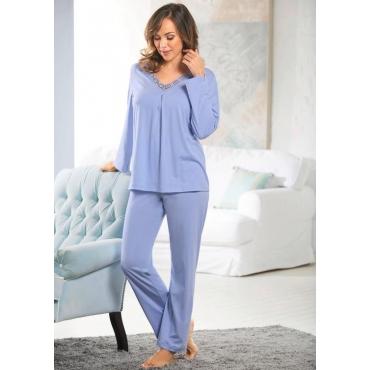 Femininer Pyjama mit V-Ausschnitt und Spitze lila Gr. 52/54 von Ascafa