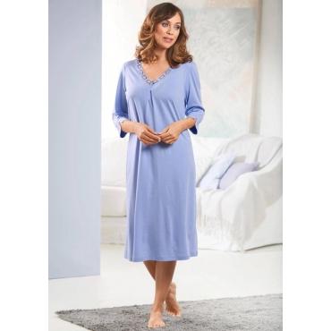 Feminines Nachthemd mit 3/4-Arm und Spitze lila Gr. 44/46 von Ascafa