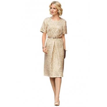 Festliches Kleid in glänzender Brokat-Optik weiß Gr. 52 von Atelier Goldner Schnitt