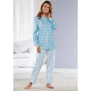 Geblümter Pyjama mit durchgehender Knopfleiste blau Gr. 40/42 von Atelier Goldner Schnitt