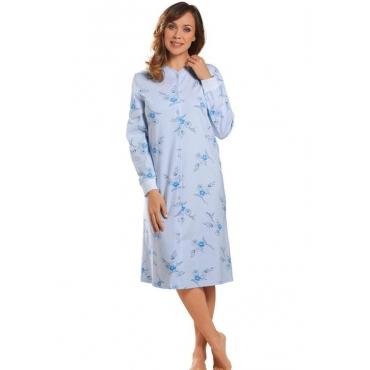 Geblümter Pyjama mit durchgehender Knopfleiste blau Gr. 44/46 von Atelier Goldner Schnitt