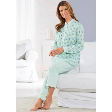 Geblümter Pyjama mit durchgehender Knopfleiste grün Gr. 52/54 von Atelier Goldner Schnitt