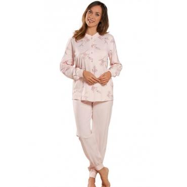 Geblümter Pyjama mit durchgehender Knopfleiste orange Gr. 48/50 von Atelier Goldner Schnitt