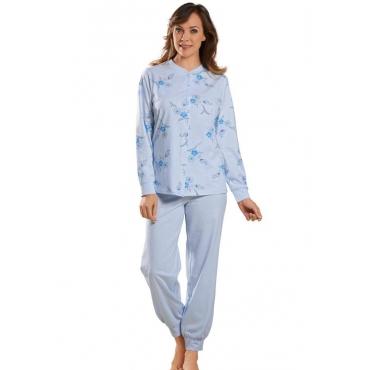 Geblümtes Nachthemd mit durchgehender Knopfleiste blau Gr. 44/46 von Atelier Goldner Schnitt