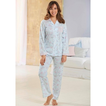 Geblümtes Pyjamaoberteil Mix&Match blau Gr. 52/54 von Ascafa