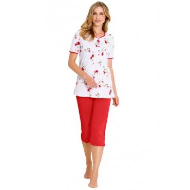 Halbarm-Pyjama mit Knopfleiste rot Gr. 48/50 von Ringella