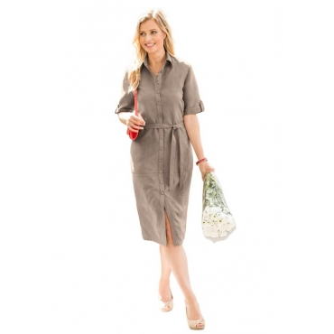 Hemdblusenkleid mit Bindegürtel braun Gr. 50 von Atelier Goldner Schnitt