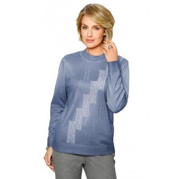 Hochwertiger Pullover mit platziertem Druck von... blau Gr. 52 von DiStrick