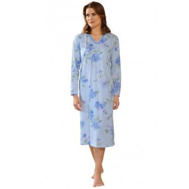 Nachthemd mit Langarm blau Gr. 44/46 von Ascafa