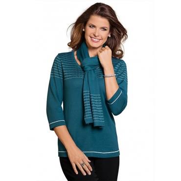 Pullover mit Schal grün Gr. 52 von Atelier Goldner Schnitt