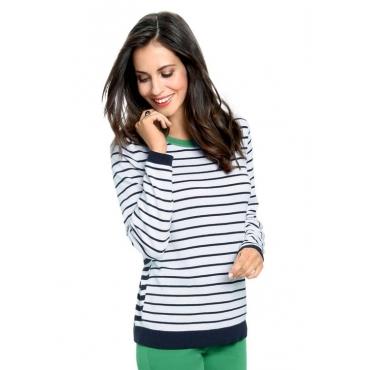 Bildschöner Pullover mit schönem Ringelmuster weiß Gr. 50 von Atelier Goldner Schnitt