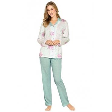 Pyjama durchgeknöpft grün Gr. 40/42 von Ascafa