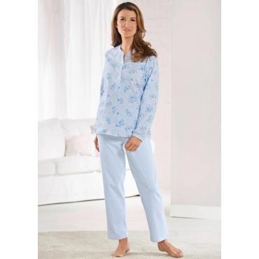 Pyjama mit durchgehender Knopfleiste und romant... blau Gr. 40/42 von Atelier Goldner Schnitt
