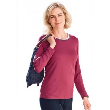 Shirt mit Glanzbündchen rot Gr. 54 von Atelier Goldner Schnitt