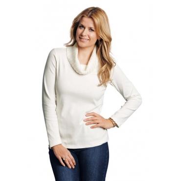 Shirt mit Strickrollkragen weiß Gr. 52 von Atelier Goldner Schnitt