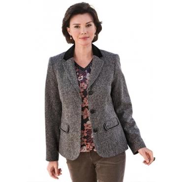 Tweed-Blazer mit Samtbesatz braun Gr. 54 von Atelier Goldner Schnitt