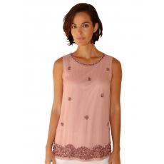 AMY VERMONT Damen Amy Vermont Top mit Perlen und Pailletten im Vorderteil rosa 48