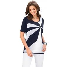 CLASSIC BASICS Damen Classic Basics Pullover mit Intarsien-Muster im Vorderteil blau 48,50,52,54,56