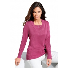 CLASSIC INSPIRATIONEN Damen Classic Inspirationen Pullover mit höherem Rippbund an Saum rosa 48,50,52,54