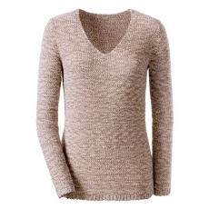 CRÉATION L Damen Création L Pullover aus gemustertem Bändchengarn grau 48,50,52