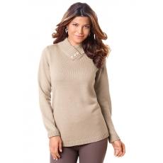 Damen Classic Basics Pullover mit schimmernden Zierknöpfen CLASSIC BASICS braun 48,50,52,54,56