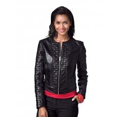 Damen Lederjacke mit aufwendigen Ziersteppungen Alba Moda schwarz 48