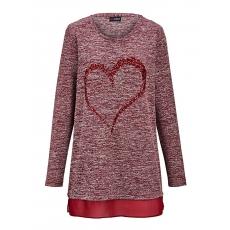 Damen MIAMODA Pullover mit Herzmotiv aus Pailletten MIAMODA rot 48,50,52,54,56,58,60,62