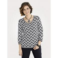 Damen Mona Pullover mit Zick-Zack-Muster MONA schwarz 48,50,52