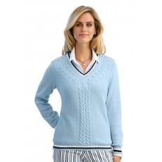 MONA Damen Mona Pullover mit Zopfstruktur blau 48,50,52