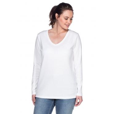 SHEEGO BASIC Damen Basic Langarmshirt weiß 48,52,56