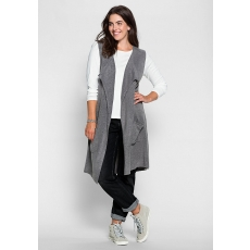 SHEEGO CASUAL Damen Casual Strickweste grau 48,52,56