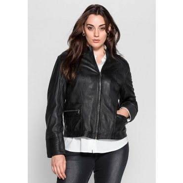 SHEEGO STYLE Damen Style Lederjacke schwarz 48,50,52,54,56,58