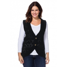SHEEGO STYLE Damen Style Strickweste schwarz 48,52,56
