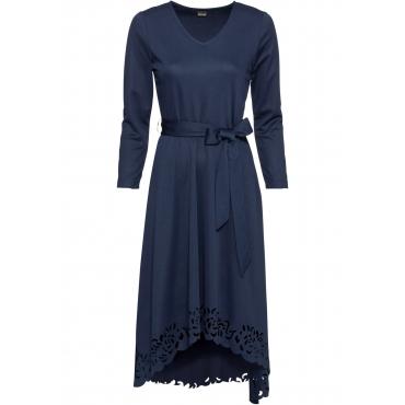 Vokuhila-Kleid mit Laser-Cut 7/8 Arm  in blau für Damen von bonprix