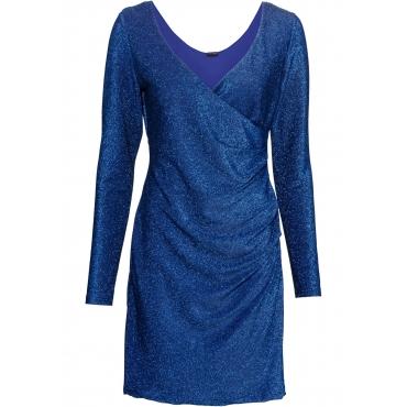 Lurex-Wickelkleid langarm  in blau für Damen von bonprix
