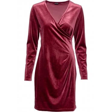 Samt-Wickelkleid langarm  in rot für Damen von bonprix