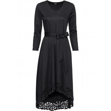 Vokuhila-Kleid mit Laser-Cut 7/8 Arm  in schwarz für Damen von bonprix