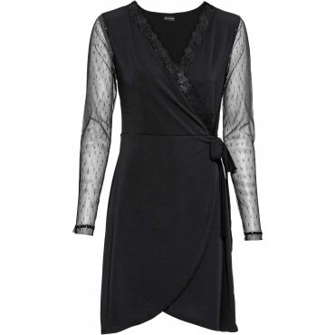 Shirtkleid in Wickel-Optik langarm  in schwarz für Damen von bonprix