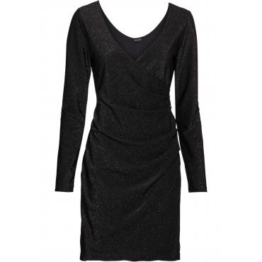 Lurex-Wickelkleid langarm  in schwarz für Damen von bonprix