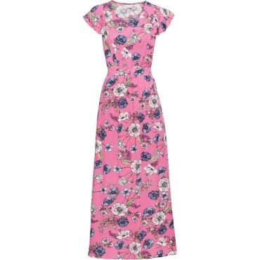 Bedrucktes Maxikleid mit Volants Flügelärmel  in rosa für Damen von bonprix